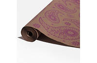 Крафт-бумага Гофре (в гармошку) подарочная Фиолетовые узоры на крафте 10 м/рулон