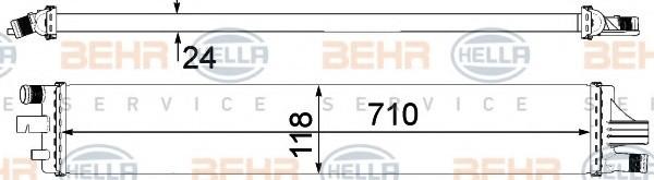 Радиатор охлаждения Renault Master 3 2010- (2.3CDTI) 710*120мм плоские соты KEMP