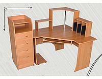 Стол компьютерный угловой Консул, с четырьмя выдвижными ящиками и полочкой под клавиатуру размер h=760 мм, 12