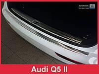 Накладка на задний бампер с загибом из нержавейки Audi Q5 (2016+)