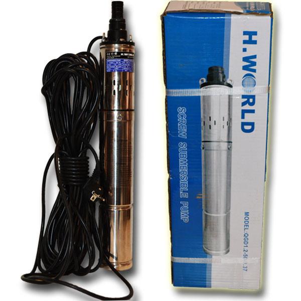 Погружной глубинный насос для скважин шнековый QJD 1,2-50-0,37 HydraWorld