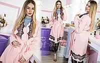 Элегантное женское пальто с кружевными вставками