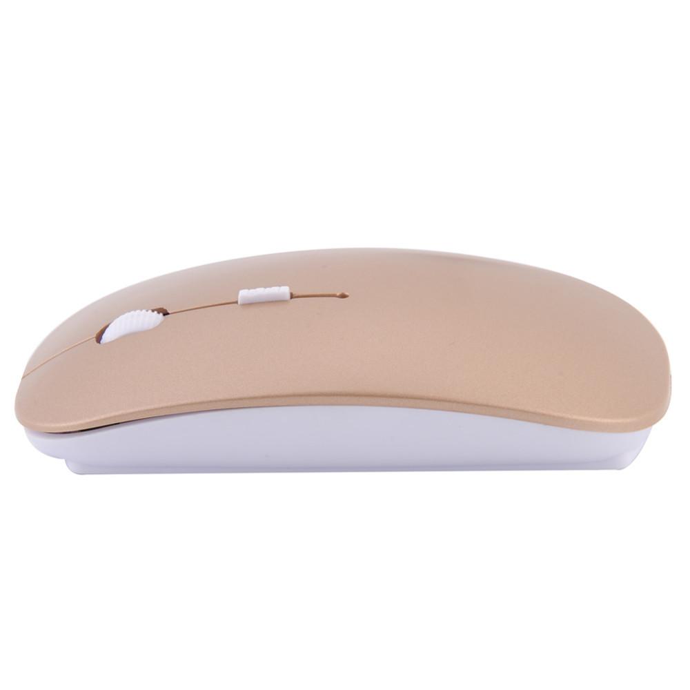 Мышка беспроводная 3 кнопки ультратонкая мышь slim золотистая