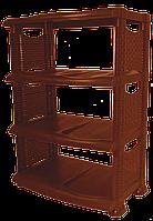 Полка для обуви коричневая ротанговая 4 яруса