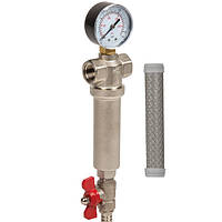 Самопромывной фильтр латунь 3/4  для горячей и холодной воды (100 микрон) Aquafilter
