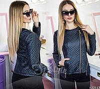 Кожаная демисезонная женская куртка-косуха