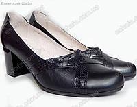 Женскиe кожаные туфли лодочки на удобном каблуке Черные