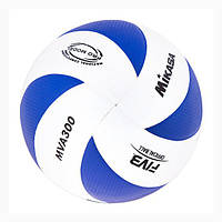 Мяч волейбольный клееный MIKASA MVA300 WHITE-BLUE PU