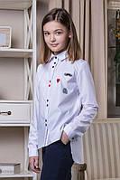 "Блуза белая школьная с нашивками ""Элен"" 146-170р"