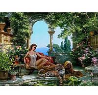 Живопись картина 40*50 Девушка с леопардом, рисование по цифрам