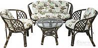 Комплект мягкой садовой мебели из натурального ротанга (2 кресла и диван  + стол круглый)