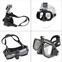 Комплект маска для дайвинга с креплением для GoPro,Xiaomi,SJCam+Трубка для плавания, фото 3