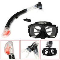 Комплект маска для дайвинга с креплением для GOPRO,XIAOMI,SJCAM+Трубка для плавания