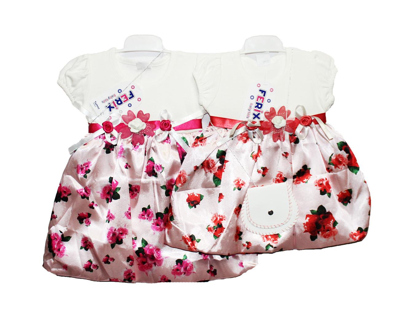 Платье детские на лето, трикотаж, атлас Ferix 300
