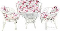 Комплект мягкой садовой мебели белый из натурального ротанга  (2 кресла и диван  + стол круглый)