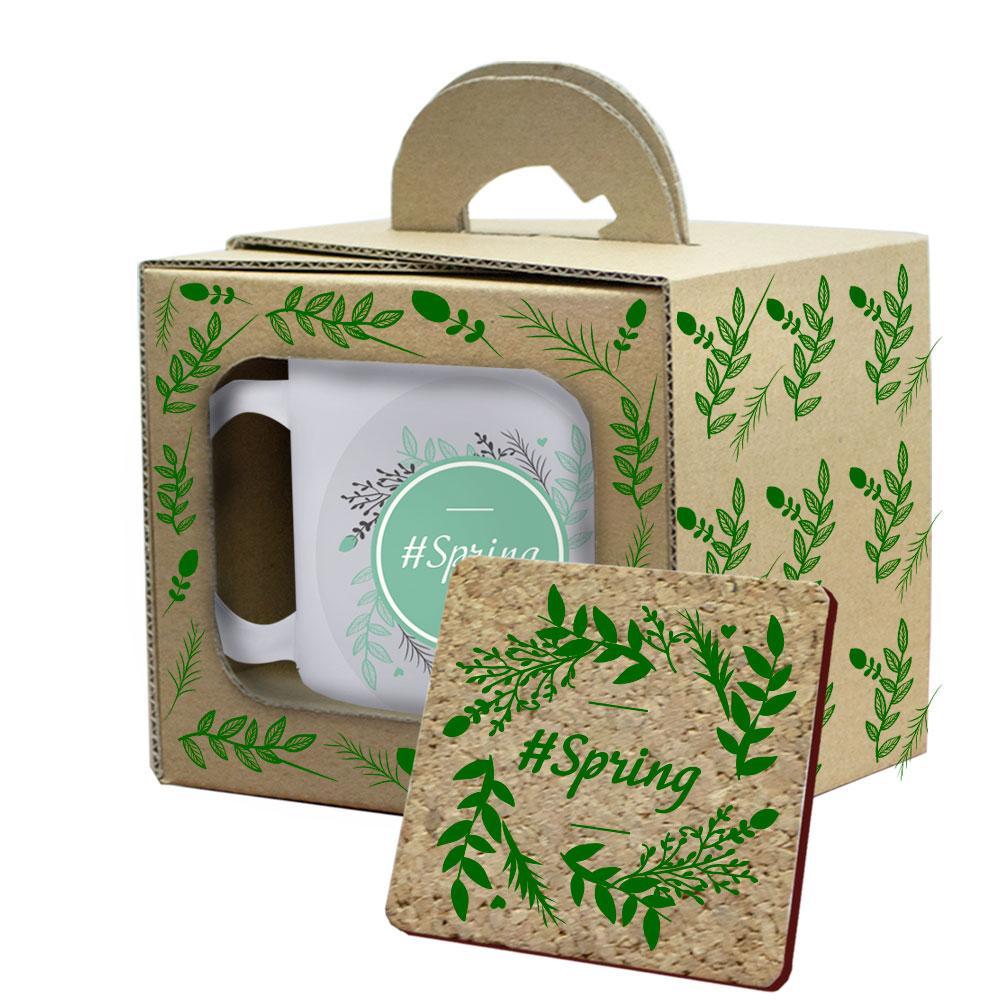 Подарочная кружка с костером в коробке