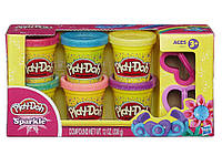 Набор пластилина 6 баночек Блестящая коллекция Play-Doh Hasbro
