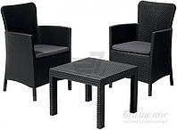 Комплект садовой мебели черный из искусственного ротанга (2 кресла и столик)