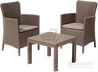 Комплект садовой мебели коричневой из искусственного ротанга (2 кресла и столик)