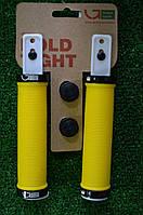 Грипсы Green Cycle GC-G211 желтые с двумя черными замками, фото 1