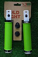 Грипсы Green Cycle GC-G211 зеленые с двумя черными замками, фото 1