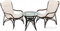 Комплект мягкой садовой мебели кремовый из натурального ротанга (2 кресла +круглый столик)