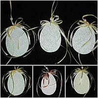 Пасхальное украшение в стиле Прованс - светло серое яйцо из дерева, 12 см., 37/33 (за 1 шт. + 4 гр.)