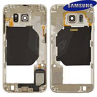Средняя часть корпуса для Samsung Galaxy S6 G920F, золотистая, оригинал