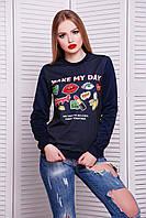 Модная женская черная кофта из дайвинга, фото 1