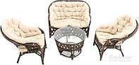 Комплект мягкой садовой мебели коричневой из натурального ротанга ( 2 кресла, дивани круглый столик)