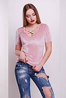 Женская приталенная футболка из велюра, фото 1
