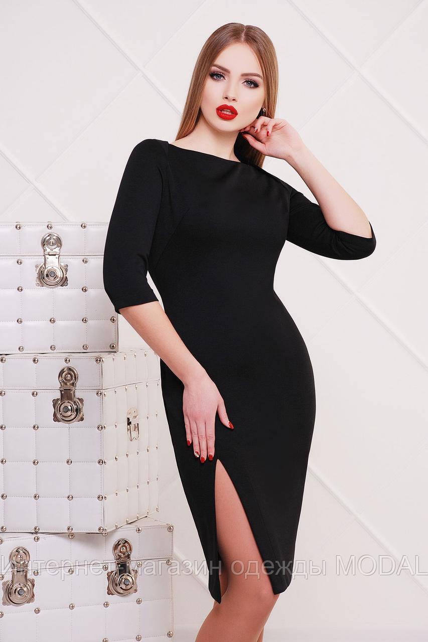 aa9131d4112 Черное трикотажное платье с разрезом   продажа