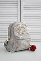 Женский повседневный рюкзак из экокожи серого цвета , фото 1