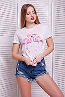 Женская футболка с рисунком фламинго