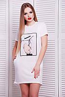 Модная удлиненная футболка белого цвета
