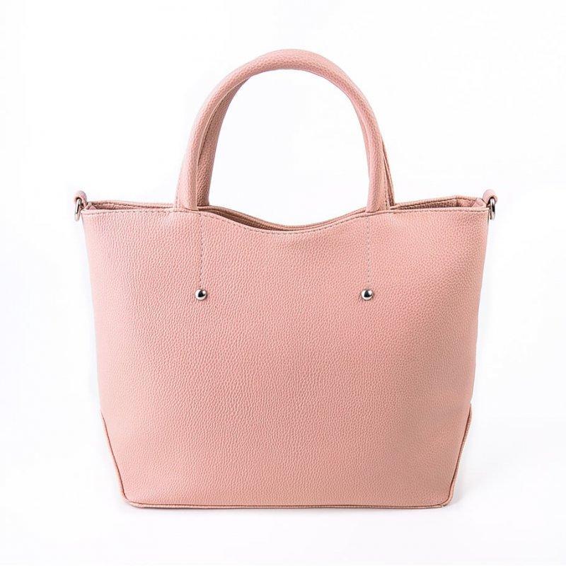 Жіноча рожева сумка ділова річна з ручками і довгим ремінцем М75-65