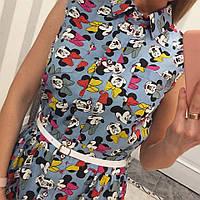 Джинсовое летнее платье с поясом  Микки 1134