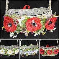 Пасхальный декор корзины - ленточка с красными маками, ширина  ленты 5 см., 120 гр.