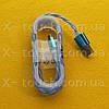 USB - Micro USB кабель в силиконовой оболочке 1 м, Шнур micro usb 2.0 для HTC ( цвет синий )