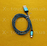 USB - Micro USB кабель в тканевой оболочке 1 м, Шнур micro usb 2.0 для HTC (цвет салатовый), фото 2