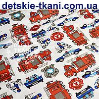 Ткань хлопковая с пожарными и полицейскими машинами (№ 724а)