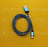 USB - Micro USB кабель в тканевой оболочке 1 м, Шнур micro usb 2.0 для Bravis ( цвет зеленый ), фото 2