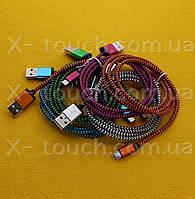 USB - Micro USB кабель в тканевой оболочке 1 м, Шнур micro usb 2.0 для Android ( цвет зеленый )