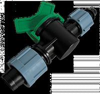 Старт-Коннектор лента/ Соединитель для трубки с зажимной гайкой та миникраном