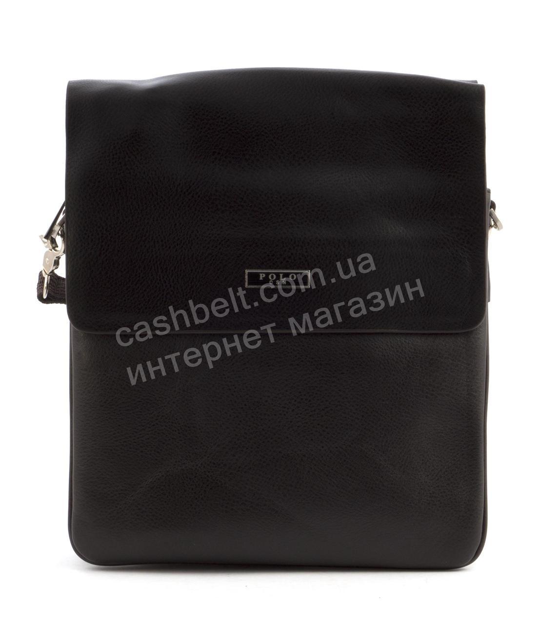 Качественная мужская вместительная сумка с прочной PU кожи POLO art. TP86686-4 темно коричневая
