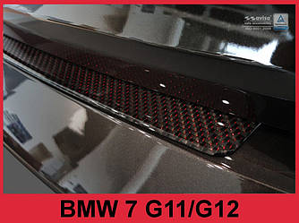 Накладка на задний бампер BMW 7 G11 / G12 Carbon (red)