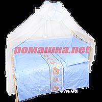 Набор в детскую кроватку из 7 предметов: постель, защита, балдахин, большое одело 140х100,подушка,100% хлопок Бирюзовый