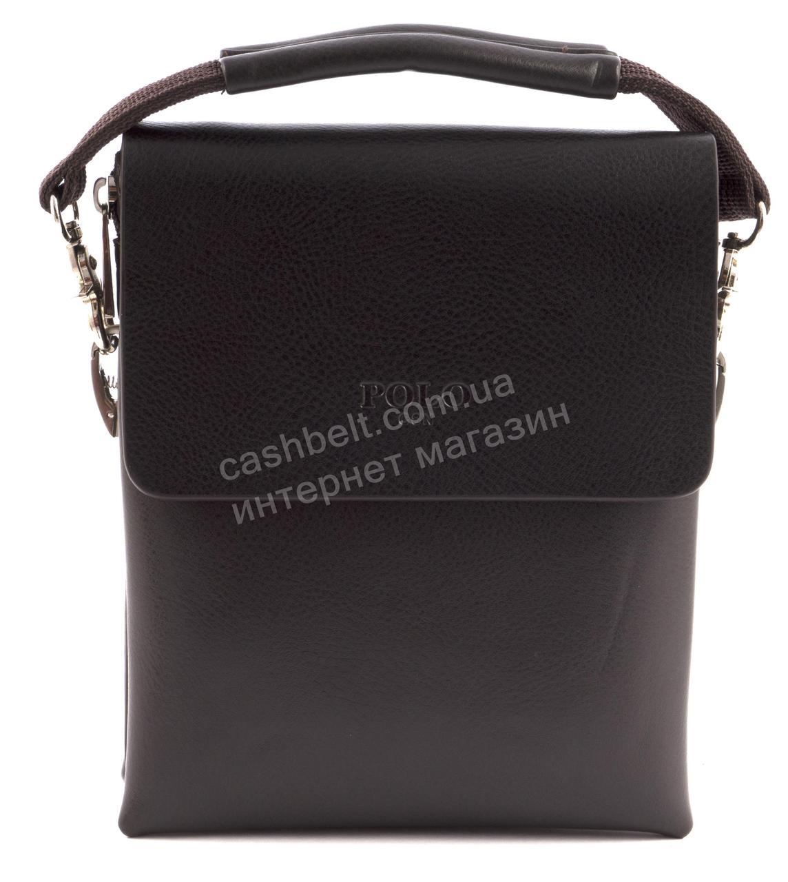 Якісна невелика чоловіча містка сумка з міцної шкіри PU POLO art. 9880-2 темно коричнева