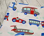 Ткань хлопковая с паровозами, самолётами и кораблями синего и красного цвета (№ 725а), фото 3