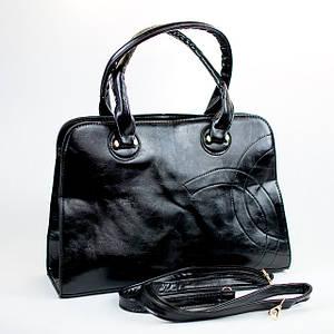 Черная вместительная женская сумка из кожзаменителя Шанель